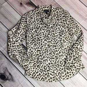 J Crew Leopard Print Blouse